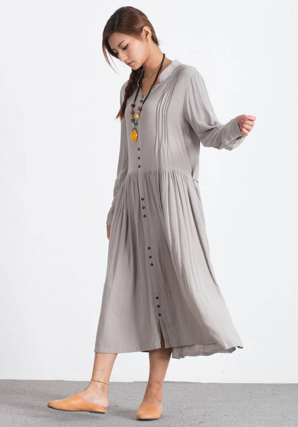 Custom made Oversize Linen Cotton shirt dress A87