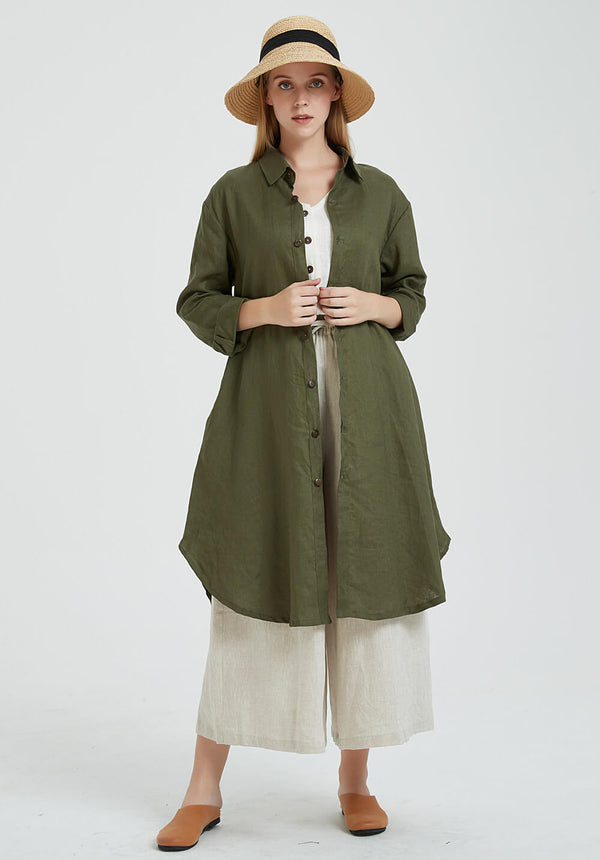 Custom made oversized linen shirt button dresses R1