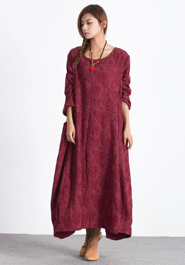 Oversize Linen Cotton Wine Red Long maxi Custom-made dress A24