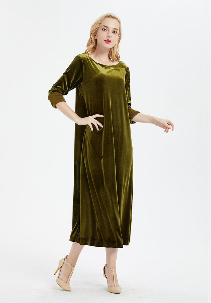 oversized velvet long sleeve large size prom dress dress R26
