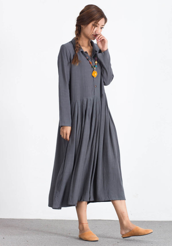 Custom made Oversize Linen Cotton maxi simple Kaftan dress A94