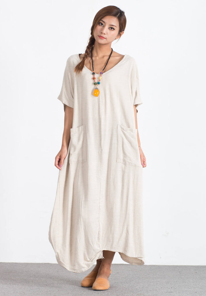 Oversize Linen Cotton maxi plus size Custom-made clothing A83