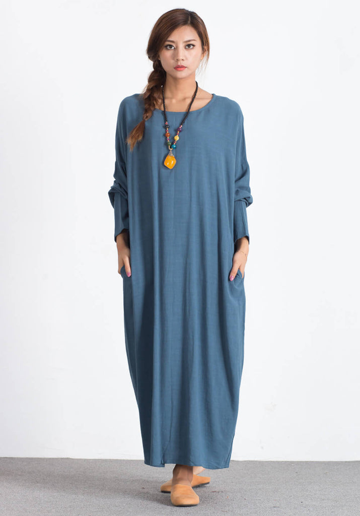 Oversize Linen Cotton maxi skirt Custom made dress A67