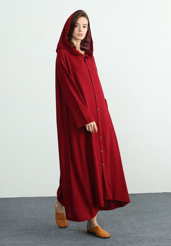 custom made long sleeves  maxi hood oversize dress C05