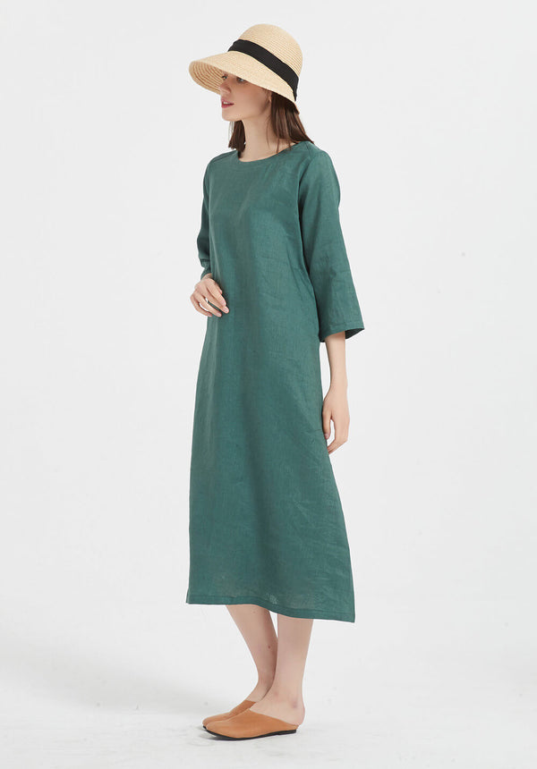 100% Pure Linen round-neck half sleeves maxi dress X35-2