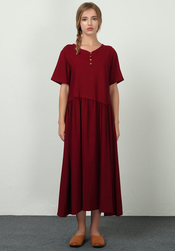 Oversize Linen Cotton Custom made maxi Long dress B23
