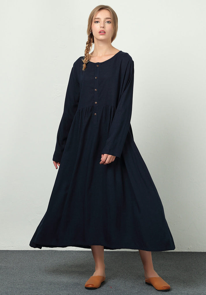 Oversize Linen Cotton Custom made dress B24