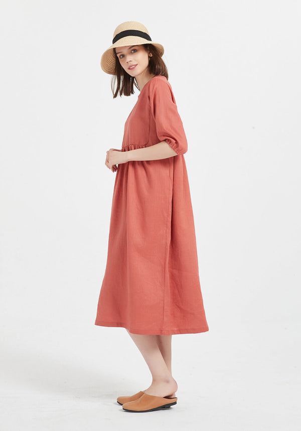 100% pure linen short sleeve Round neck midi oversized dress X47