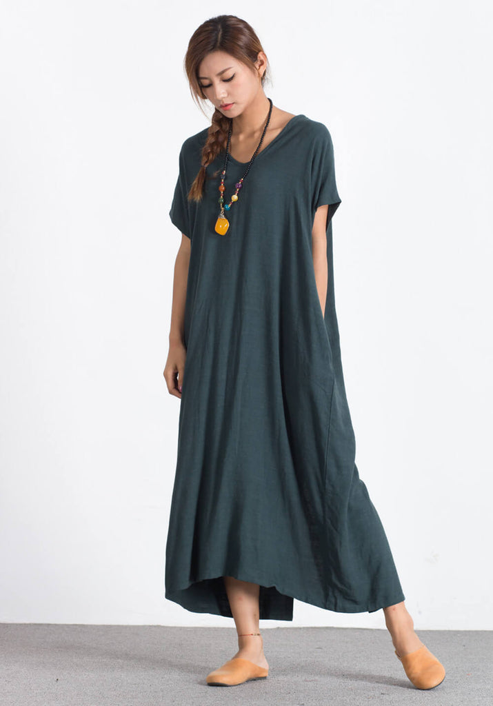 Oversize Linen Cotton Loose maxi large size custom made dress A89