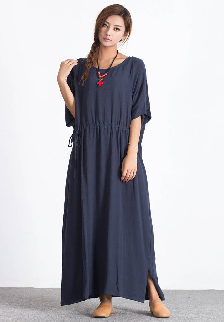 Oversize linen Cotton caftan Custom made Dress A31