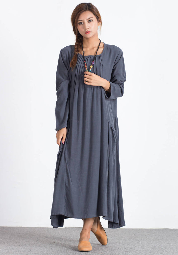 Linen Cotton Pleated plus size Custom-made dresses A82