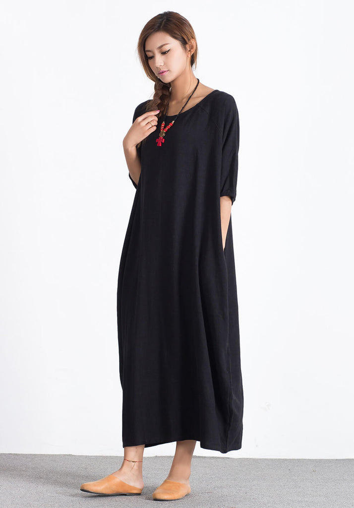 Plus size Custom made Linen Cotton loose maxi dress  A30