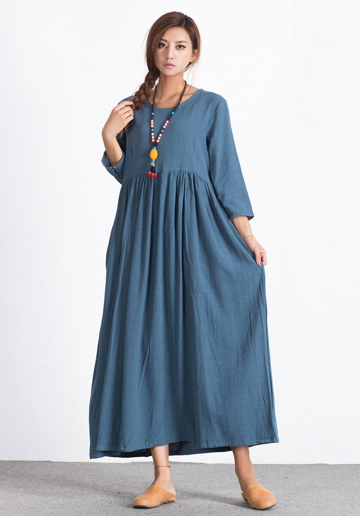 Linen Cotton maxi plus size Custom-made dress A38