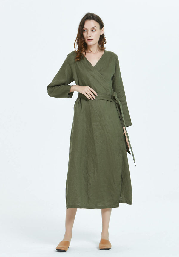 100% linen women wrap long sleeves V neck midi dress  R17