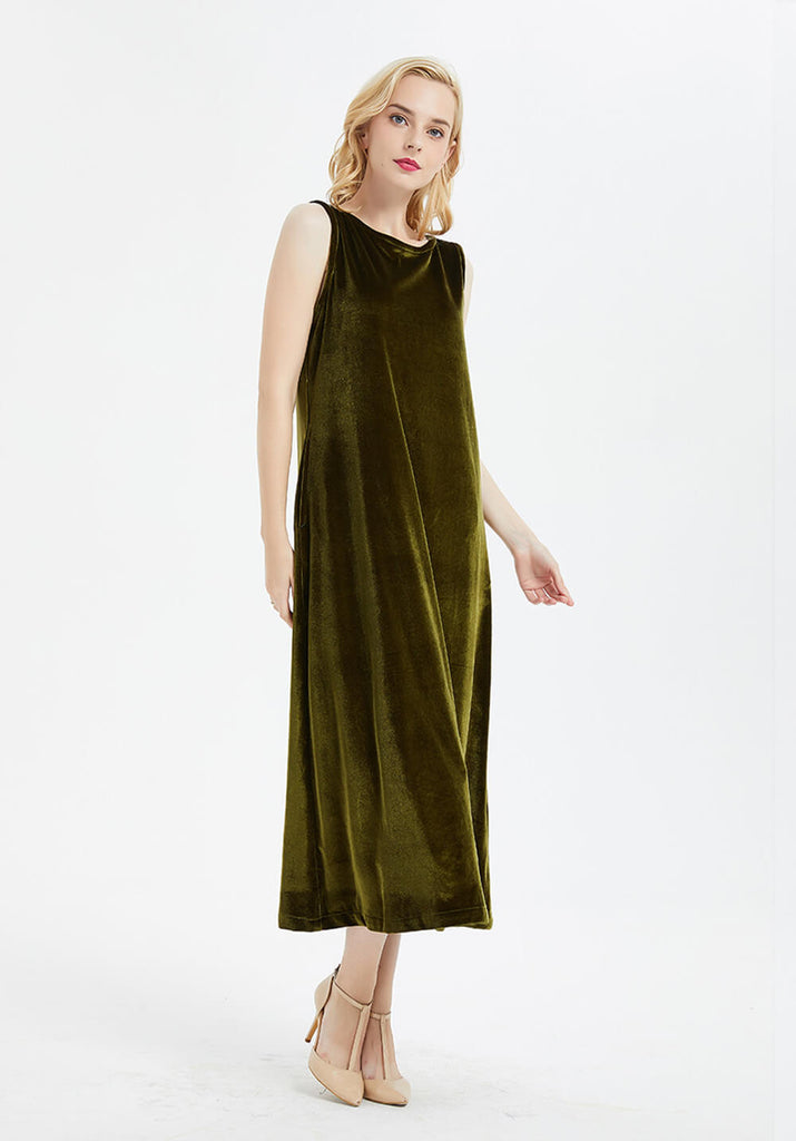 Women's sleeveless large size kaftan maxi velvet dress R6