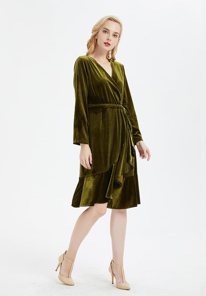 over sized V-neck long sleeve midi velvet dress  R13