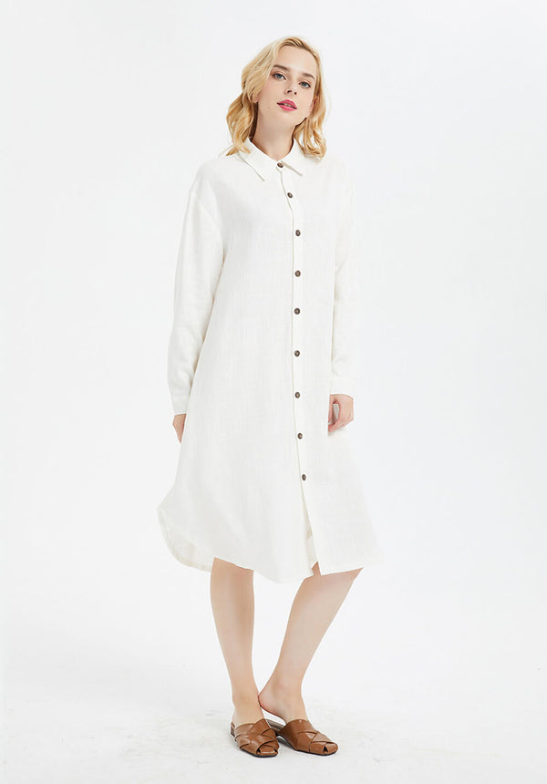 cotton linen long sleeves midi shirt dress with buttons R1
