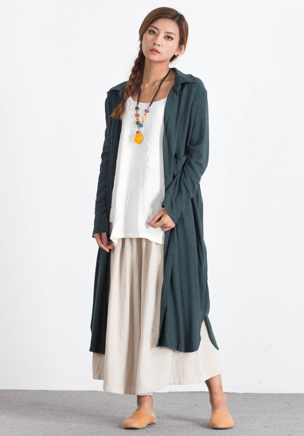 Custom-made Oversize Linen Cotton caftan shirt midi dress A105