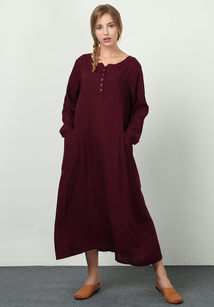 Oversize Linen Cotton Custom made dress B39