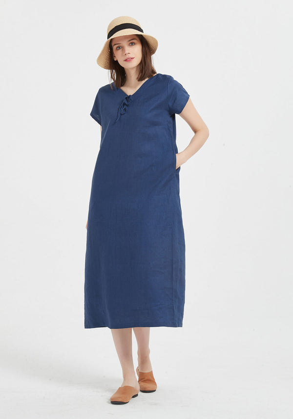 100% Linen short sleeve V neck midi dress X36