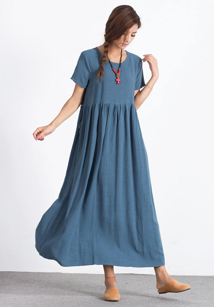 OversizeLinen Cotton custom made maxi dress A29