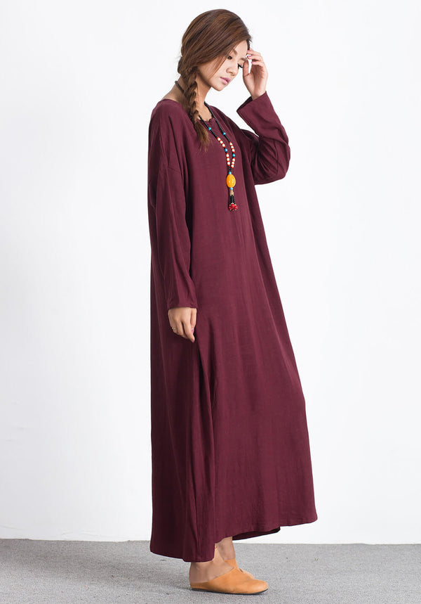 Linen Cotton Kaftan plus size Custom-made maxi dress A44