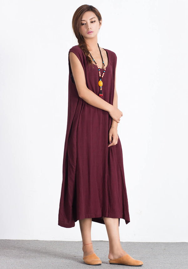 Custom made Oversize Linen Cotton sleeveless dress A37