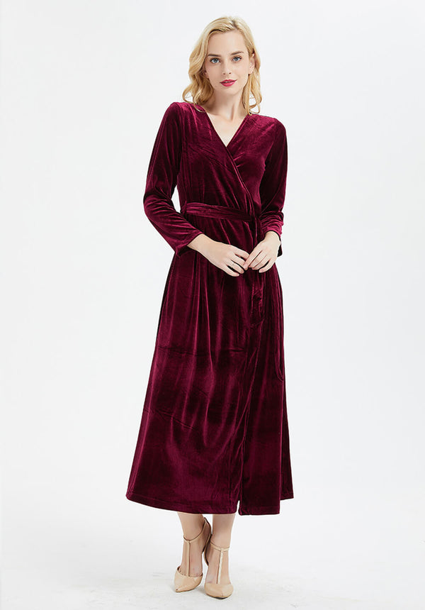 custom made long sleeve V-neck velvet wrap maxi dress R17