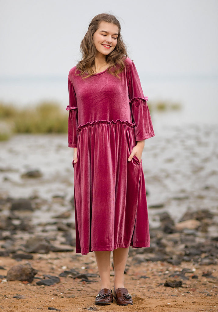 oversized velvet round neck half sleeve custom made dress R23