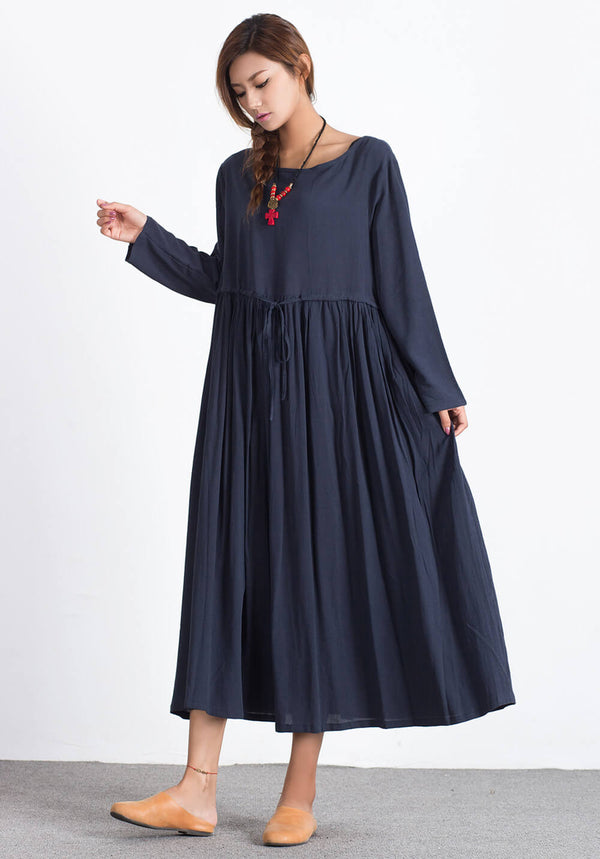 Custom made Oversize Linen Cotton maxi dress A32