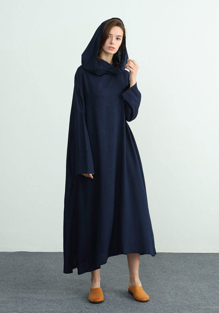 long sleeves maxi linen cotton Oversize dress C03