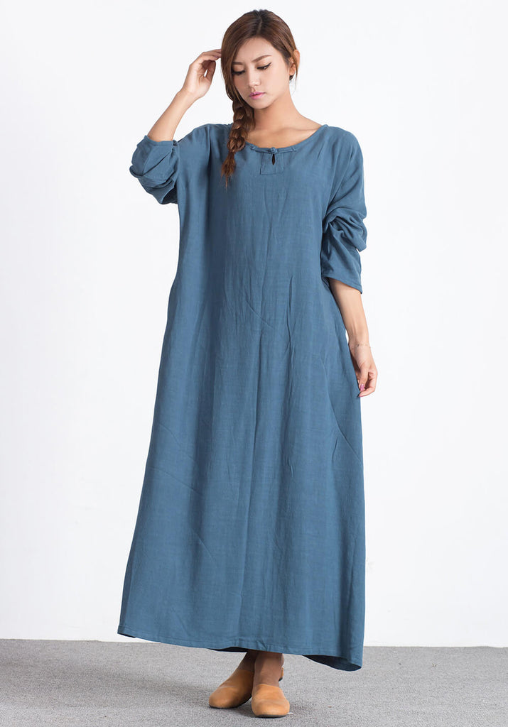 Linen Cotton large size Blue custom made Dress A14