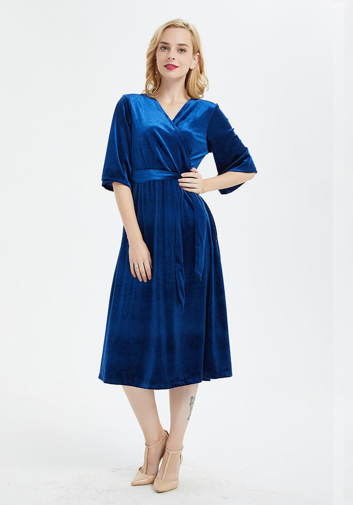 custom made large size velvet half sleeve Bridesmaid midi dress  R22