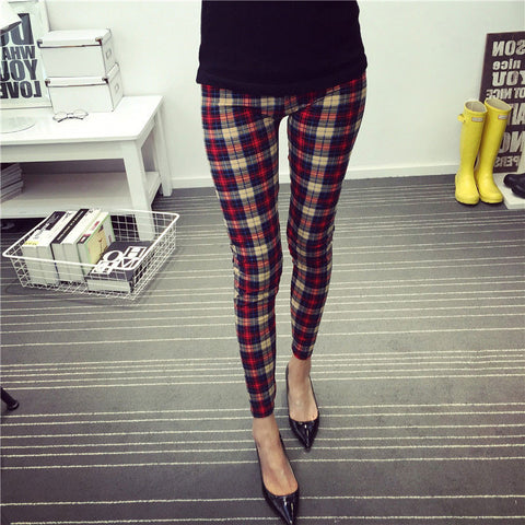 Cotton Elastic Plaid Leggings