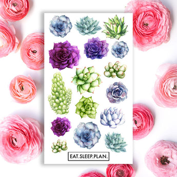 Succulent Watercolor Planner Stickers