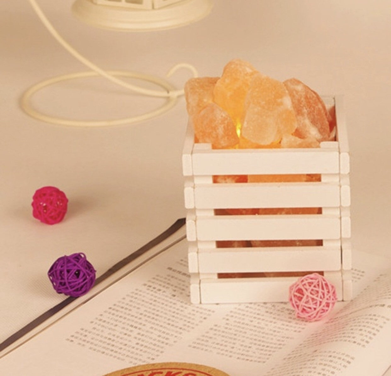 Pink Himalayan Salt Lamp Basket