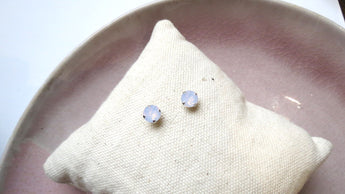 6mm Pink Opal Stud Earrings
