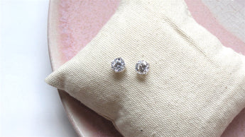 8mm Silver + Crystal Earrings