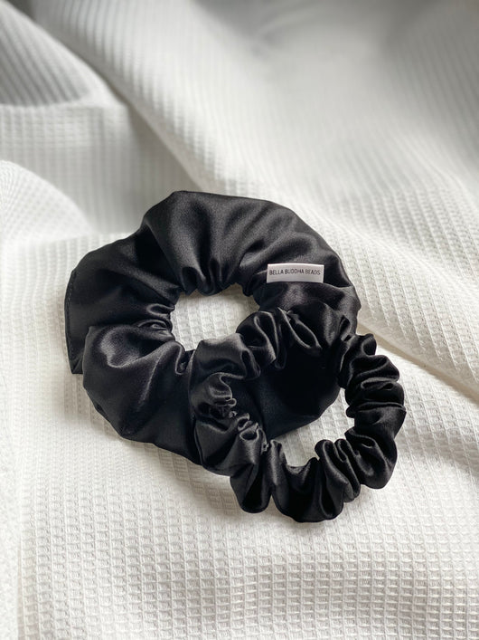 Black Satin Scrunchie Set