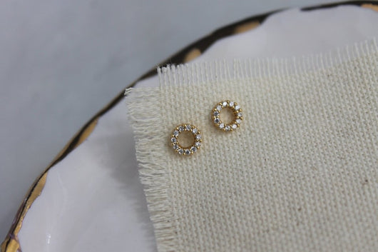 Gold Crystal Circle Studs