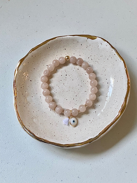 Mauve Beaded Bracelet + White Eye Charm Bracelet