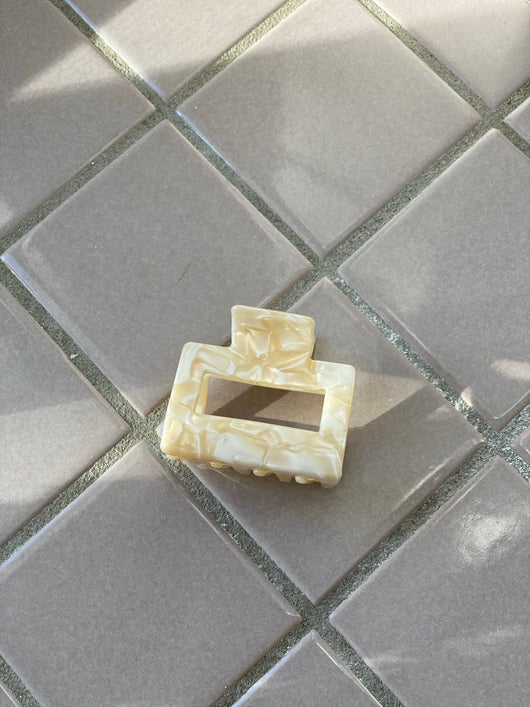 Mini Cream Rectangular Claw Clip