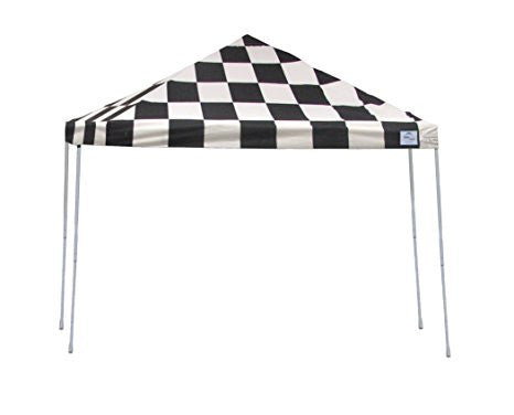 10x10 ST Pop-up Canopy, Checkered Flag Cover, Black Roller Bag