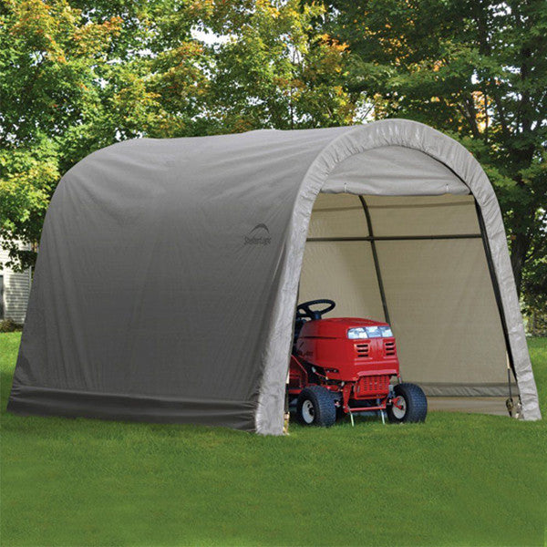 10x10x8 ft. / 3x3x2,4 m Round Style Storage Shed,  Grey Cover - Storage Shed - Shop Patios