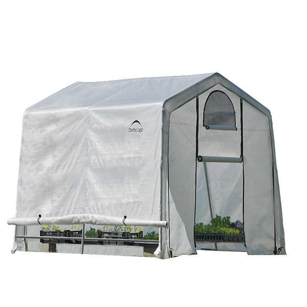 10x10x8 ft. / 3x3x2,4 m (3) Rib Peak Style Grow It Greenhouse-in-a-Box; Translucent Cover w/Side Vents; (1) 2-Zipper Door w/Screened Window; (1) Back Panel w/Screened Window