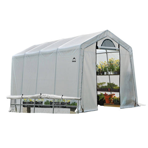 10x20x8 ft. / 3x6,1x2,4 m (5) Rib Peak Style Grow It Greenhouse-in-a-Box; Translucent Cover w/Side Vents; (1) 2-Zipper Door w/Screened Window; (1) Back Panel w/Screened Window - Greenhouse - Shop Patios