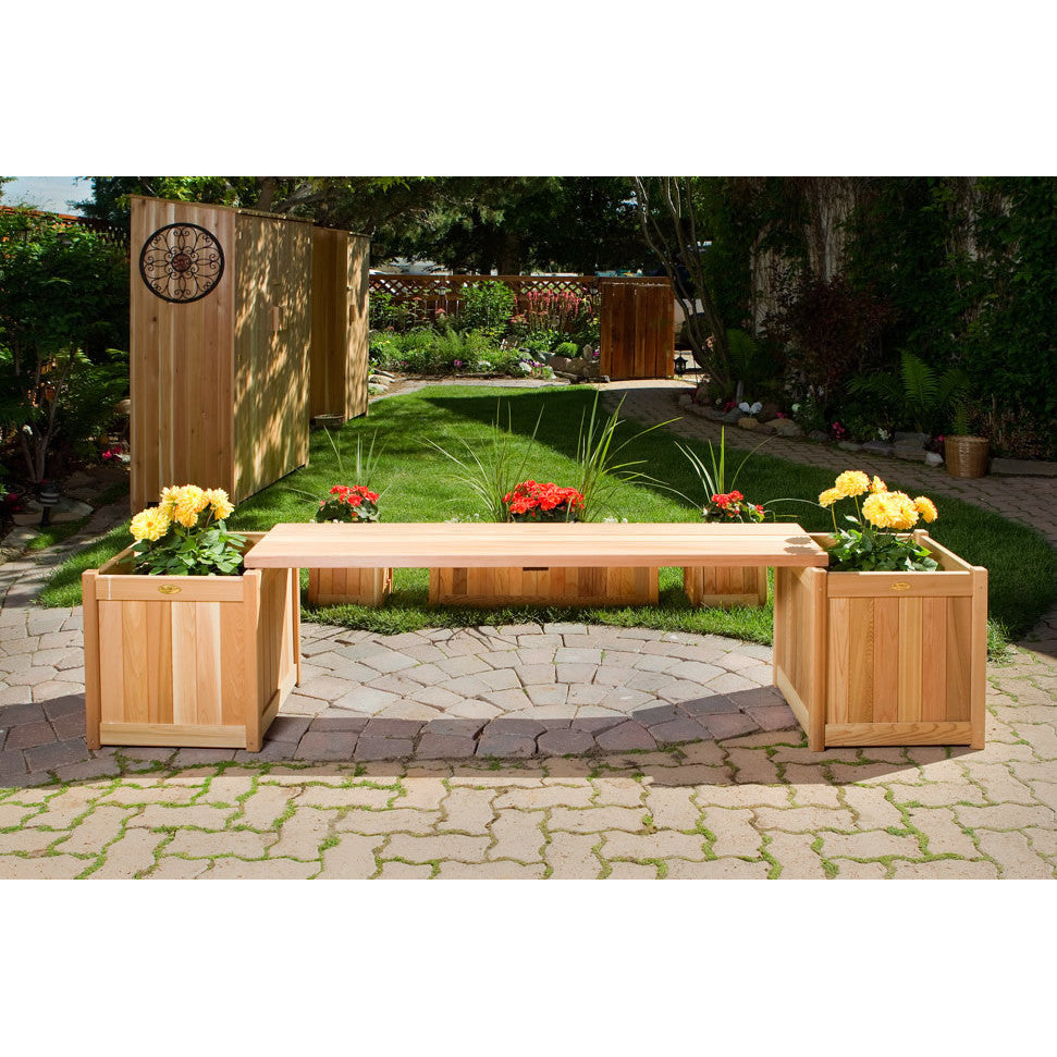All Things Cedar 3 Piece Planter with Bench - outdoor bench - Shop Patios
