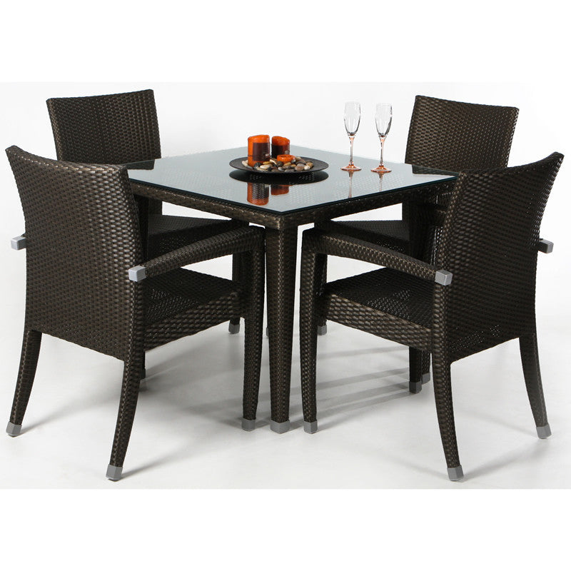 All Things Cedar 5 Piece Black Dining Patio Set - Outdoor Dining Sets - Shop Patios