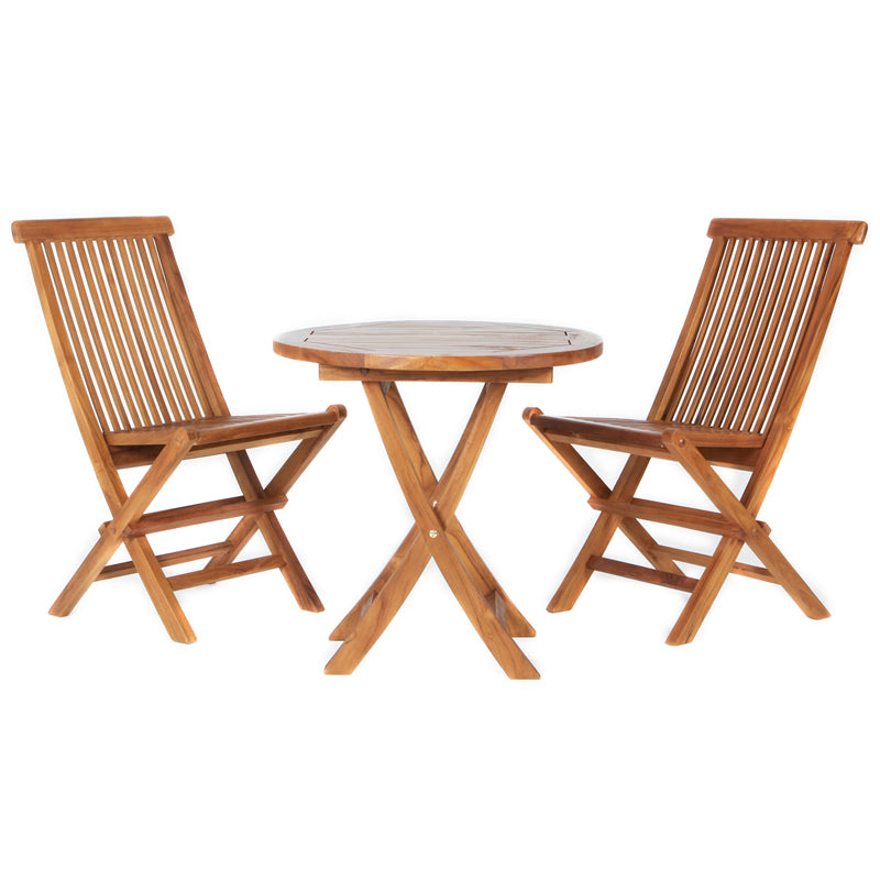 3-Piece Teak Outdoor Bistro Set - Bistro Set - Shop Patios