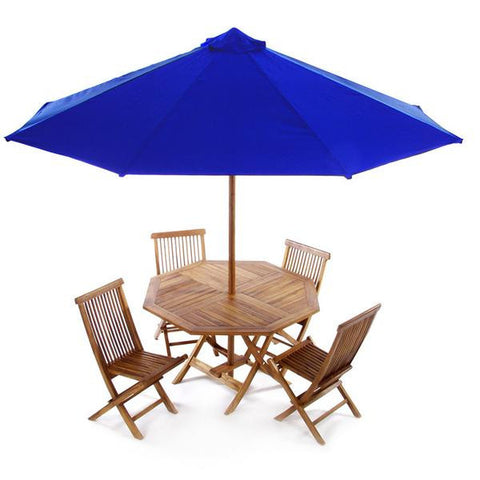 All Things Cedar Folding Table Dining Set with Umbrella - Table Set - Shop Patios